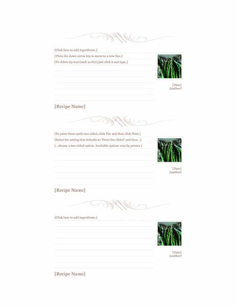 Avery Recipe Card Template event Menu Simple Design Fice Templates