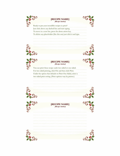 Avery Recipe Card Template Food and Nutrition Fice