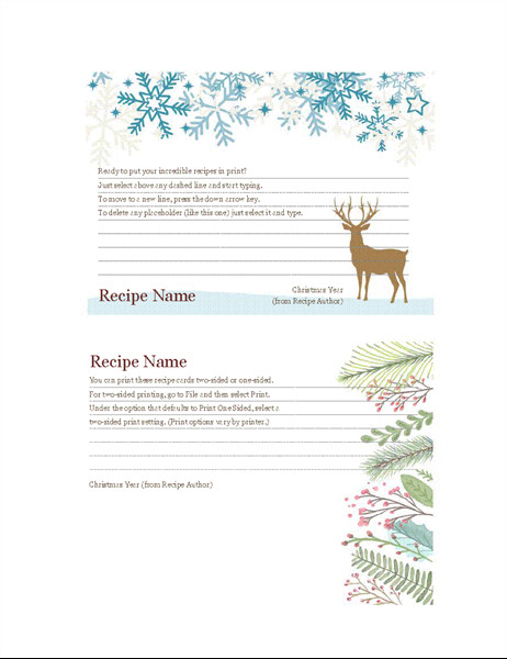 Avery Recipe Card Template Recipe Cards Christmas Spirit Design Works with Avery