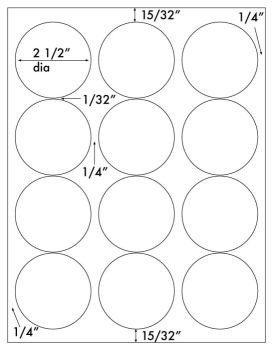 """Avery Round Label Template 1 200 White 2 1 2"""" Diameter Round Laser Only Glossy Labels"""