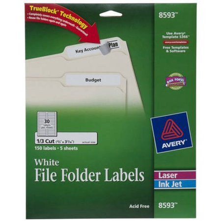 "Avery Template 8593 Avery White File Folder Labels 8593 2 3"" X 3 7 16"" 150pk"