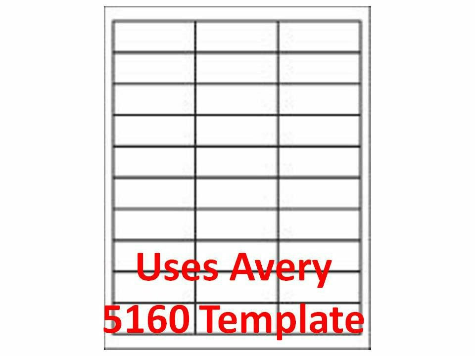 "Avery Word Template 5160 3000 Laser Ink Jet Labels 1"" X 2 5 8"" 30up Address"