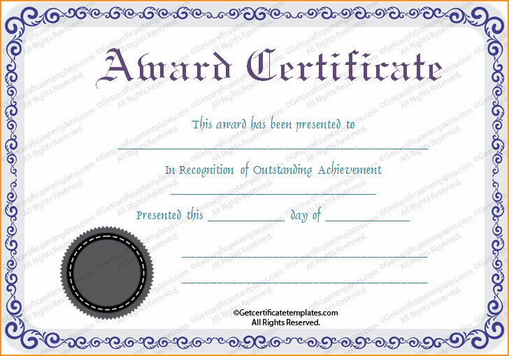 Award Certificate Template Free Blank Certificates