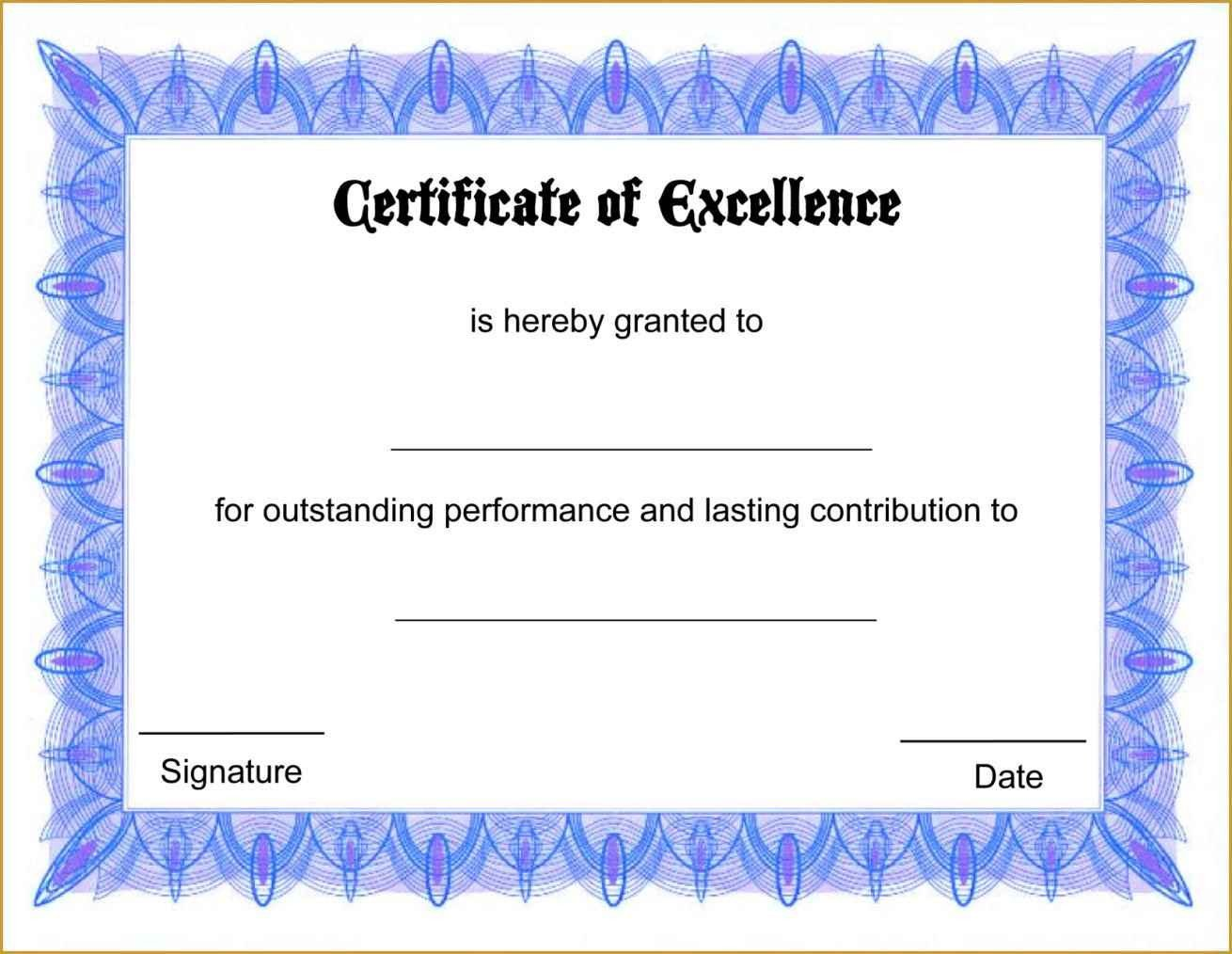 Award Certificate Template Free Certificate Appreciation Template Free Printable