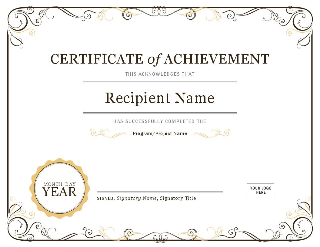 Award Certificate Template Free Certificates Fice