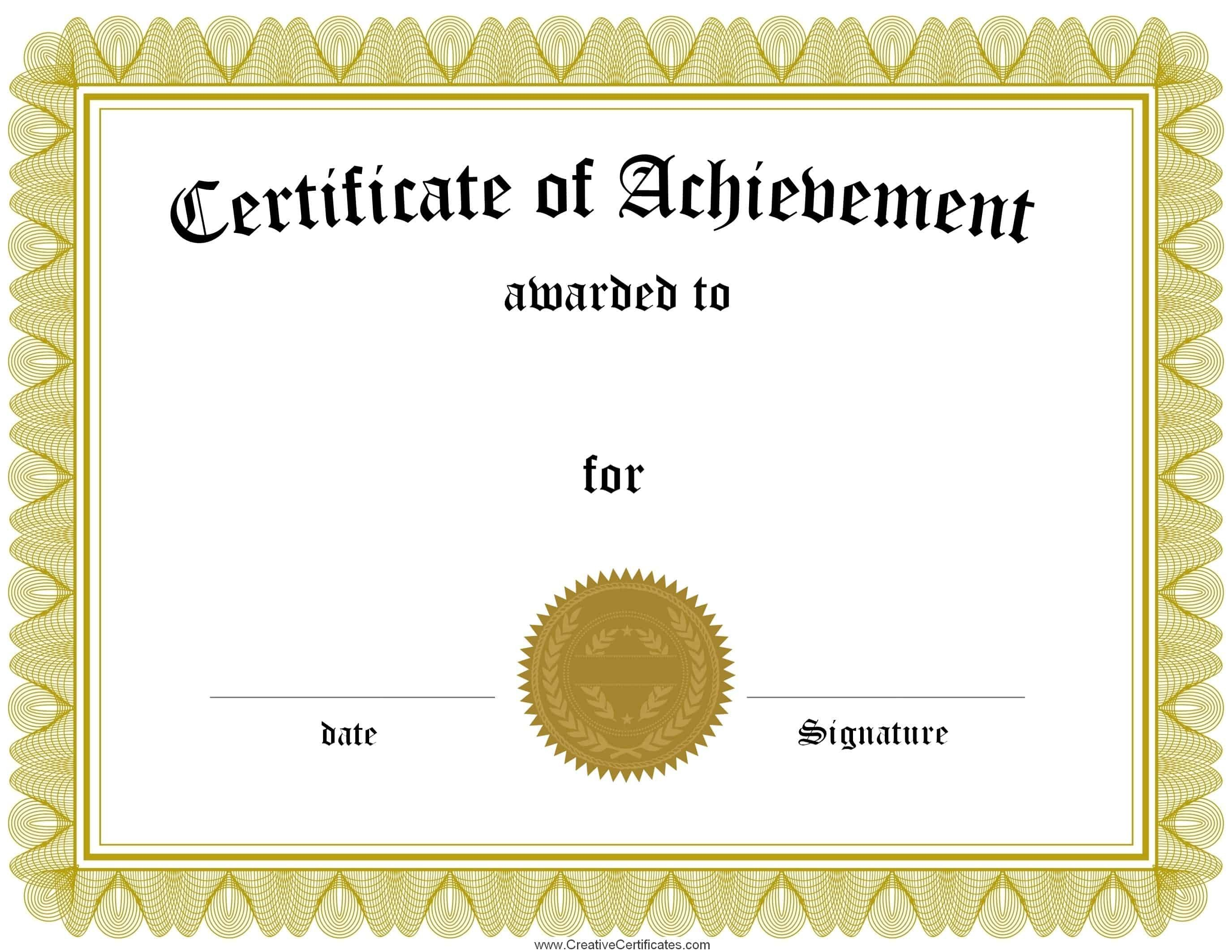 Award Certificate Template Free Free Customizable Certificate Of Achievement