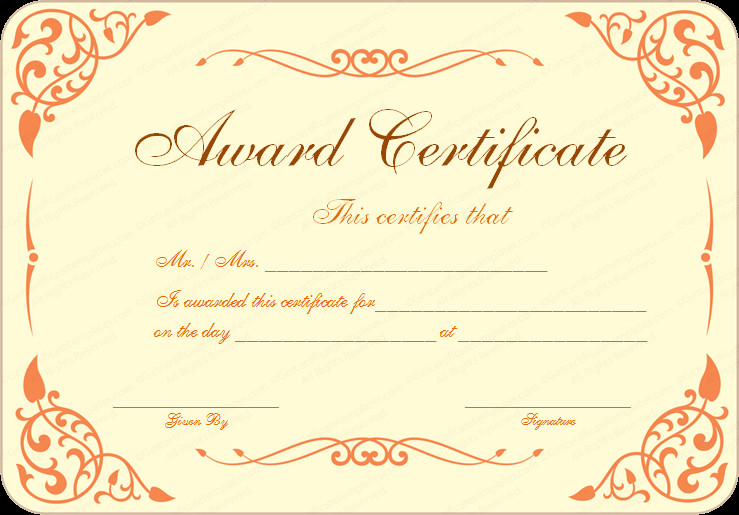 Award Certificate Template Free Free Download Award Certificate Template Samples Thogati