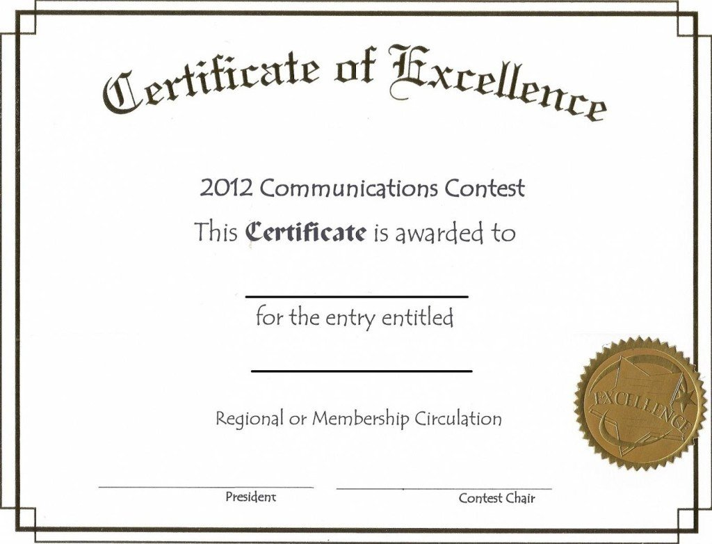 Award Certificate Template Free Free Editable Certificate Of Excellence Template Example
