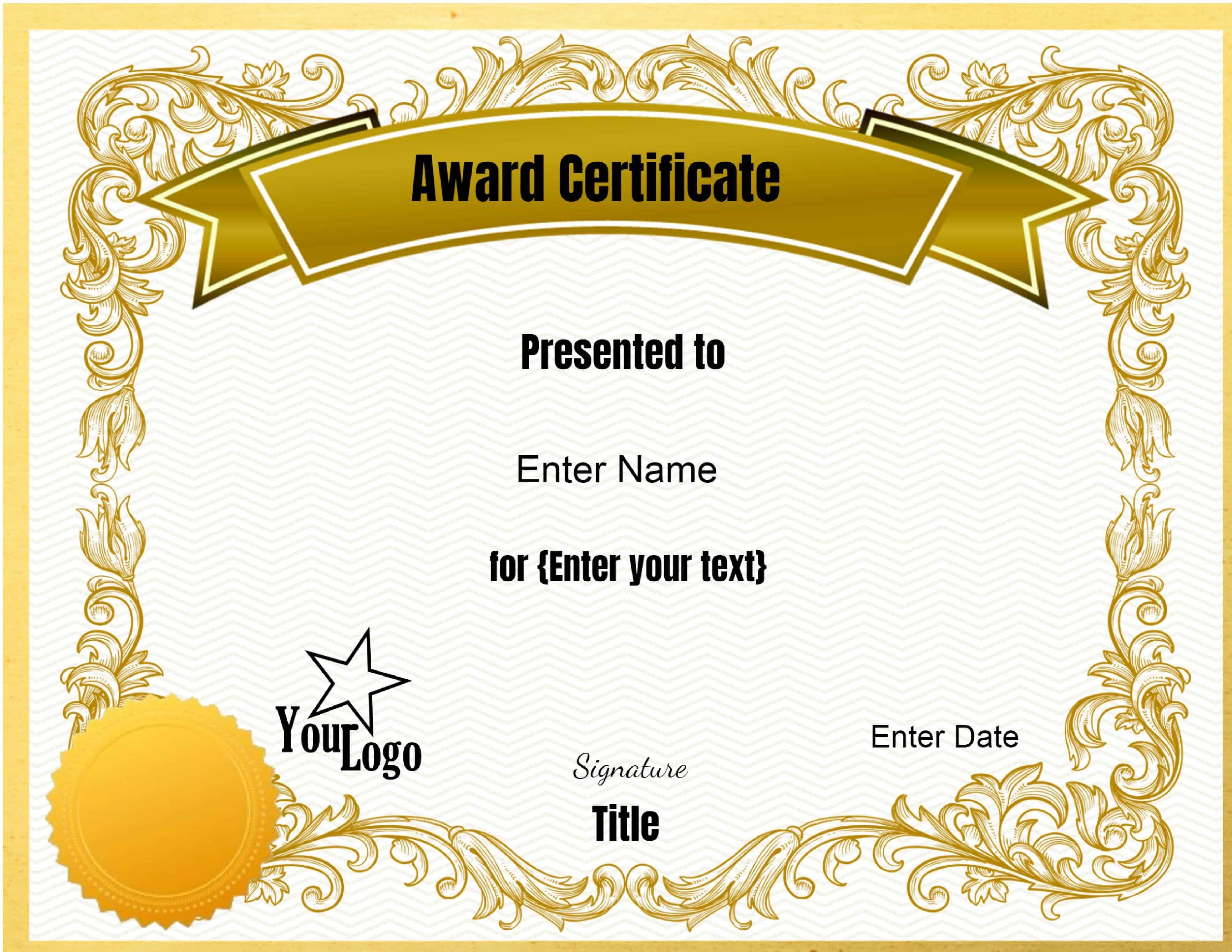 Award Certificate Template Free Free Editable Certificate Template