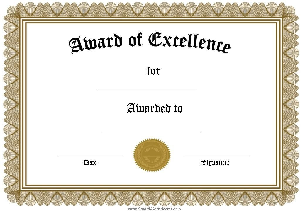 Award Certificate Template Free Free Funny Award Certificates Templates