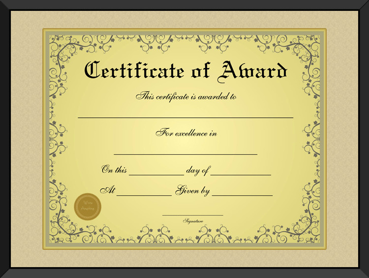 Award Certificate Template Free Free Golden formal Award Certificate Template