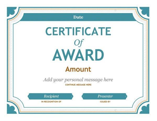 Award Certificate Template Free Gift Certificate Award