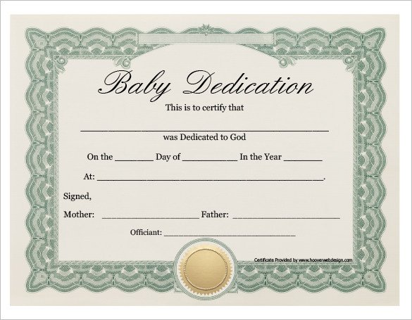 Baby Dedication Certificate Template Baby Dedication Certificate