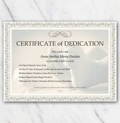 Baby Dedication Certificate Template Baptism Certificates Free