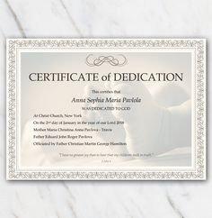 Baby Dedication Certificate Template Baptism Certificates Free