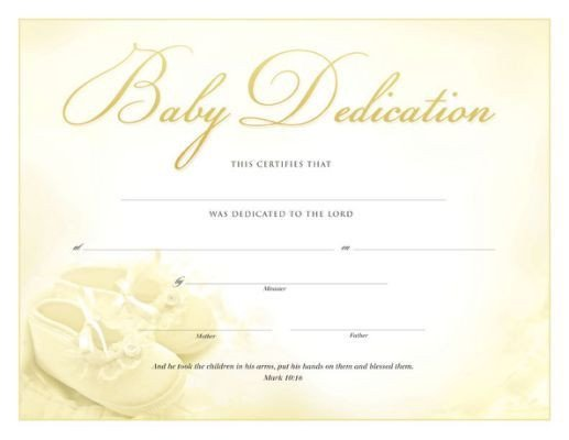 Baby Dedication Certificate Template Printable Baby Dedication Certificate