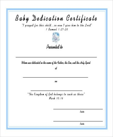 Baby Dedication Certificate Templates Baby Dedication Certificate 6 Examples In Pdf