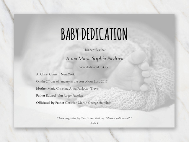 Baby Dedication Certificate Templates Baby Dedication Certificate Template for Word [free Printable]