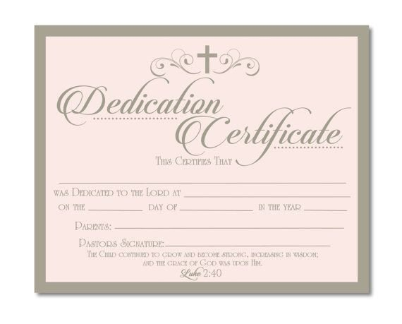 Baby Dedication Certificate Templates Printable Baby Dedication Certificate Digital by