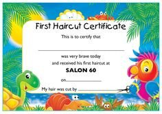 Baby First Haircut Certificate An Award Certificate to Present to A Baby after His or Her