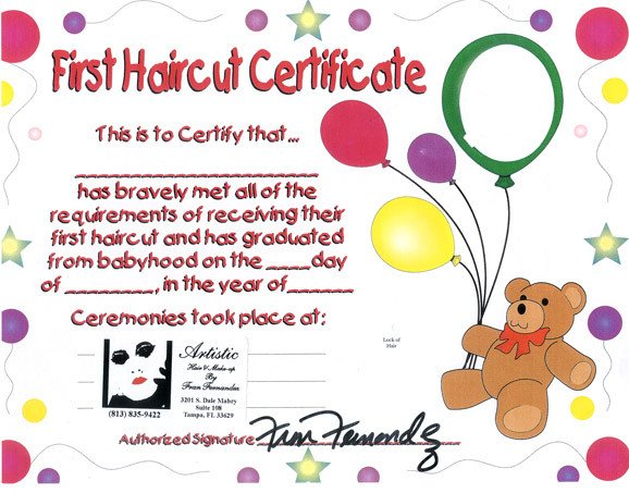 Baby First Haircut Certificate Artistic Hair and Makeup by Fran Fernandez