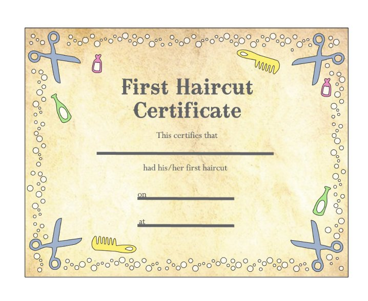 Baby First Haircut Certificate Baby S First Haircut Certificate Keepsake Laminated