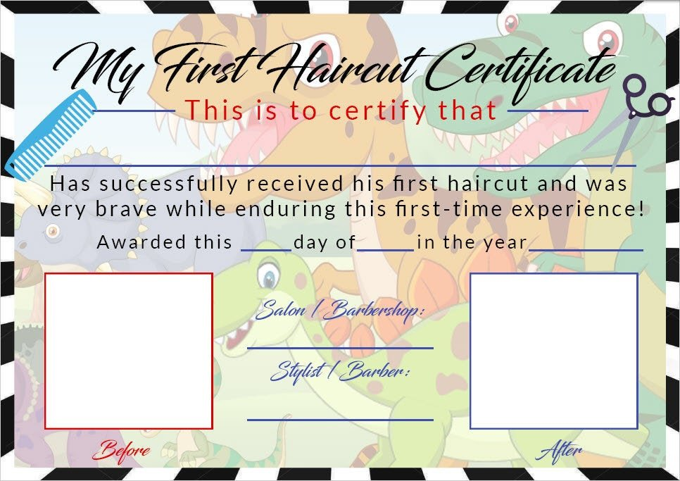 Baby First Haircut Certificate Boys First Haircut Certificate Baby First Haircut