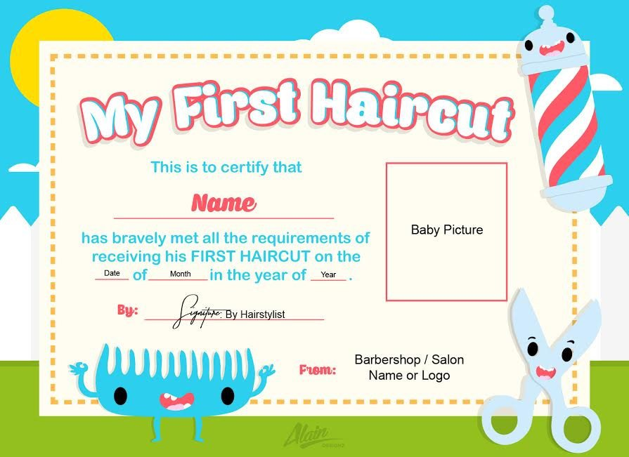 Baby First Haircut Certificate First Haircut Certificate Baby Haircut Certificate 8x10