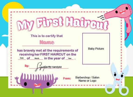 Baby First Haircut Certificate First Haircut Certificate Baby Haircut Certificate 8x11