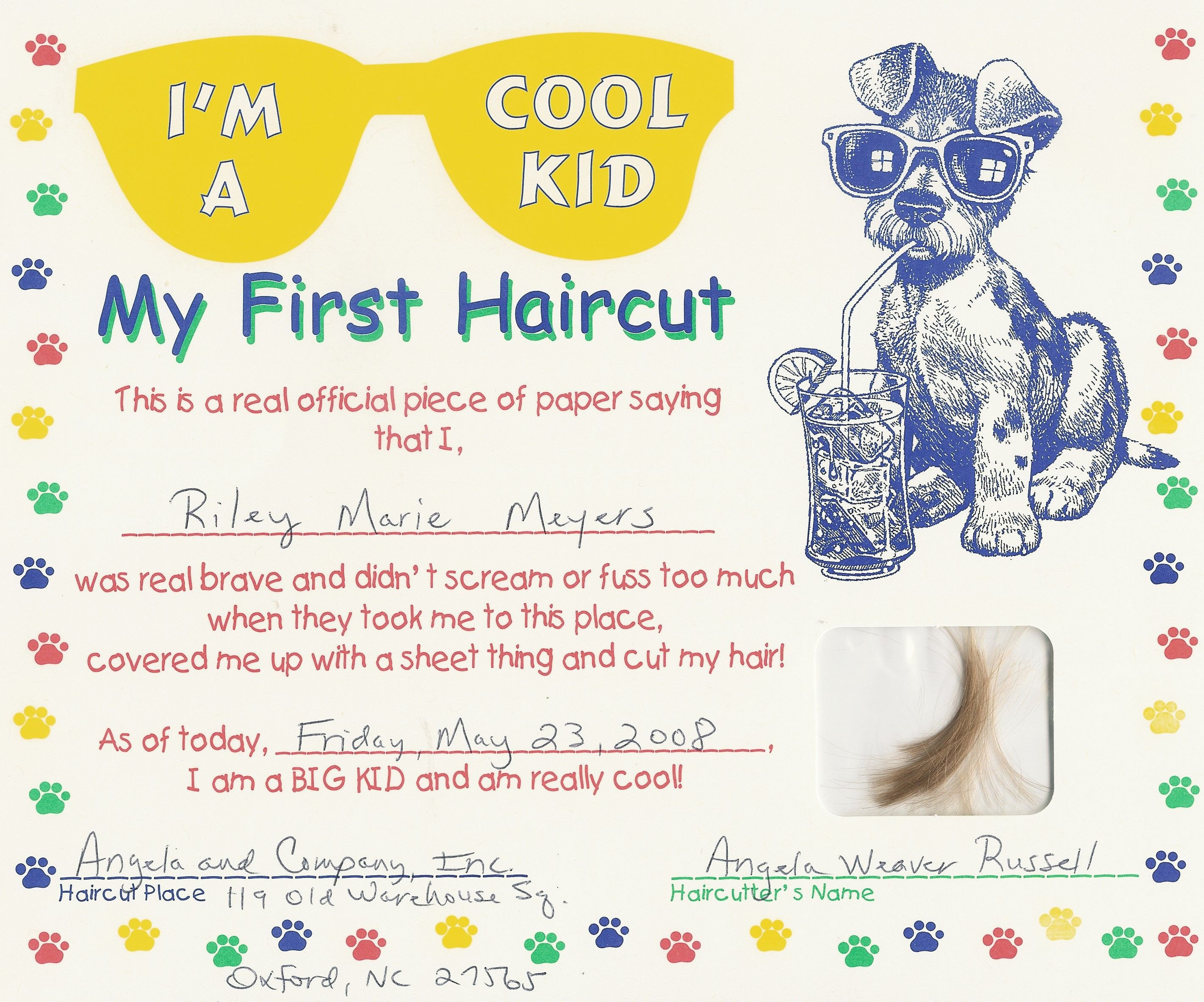 Baby First Haircut Certificate First Haircut Certificate Free My Cakepins
