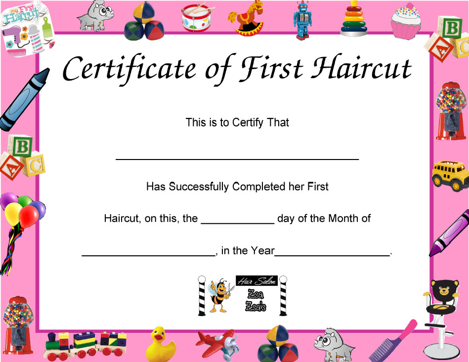 Baby First Haircut Certificate First Time to A Salon ⋆ Zsa Zsa S Hair Salon