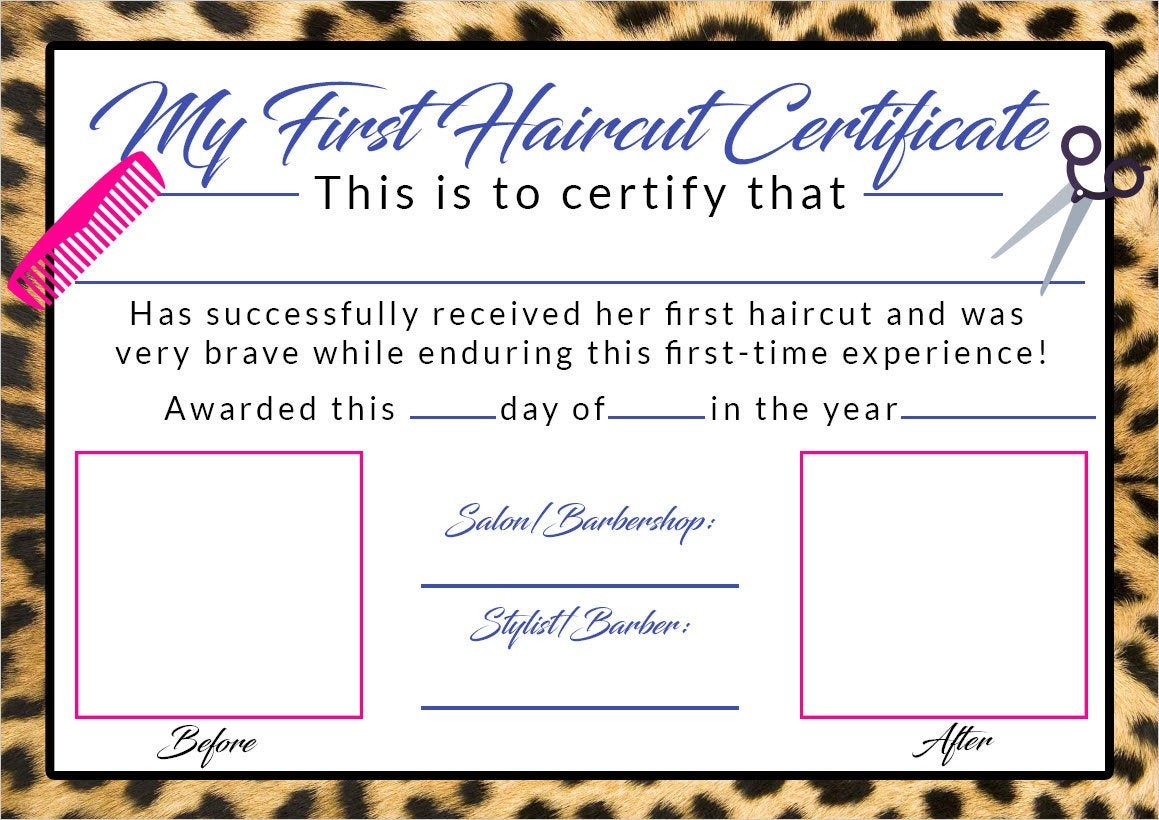 Baby First Haircut Certificate Girls First Haircut Certificate Baby First Haircut