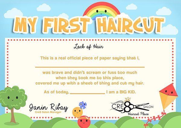 Baby First Haircut Certificate Kid S First Haircut Certificate On Behance