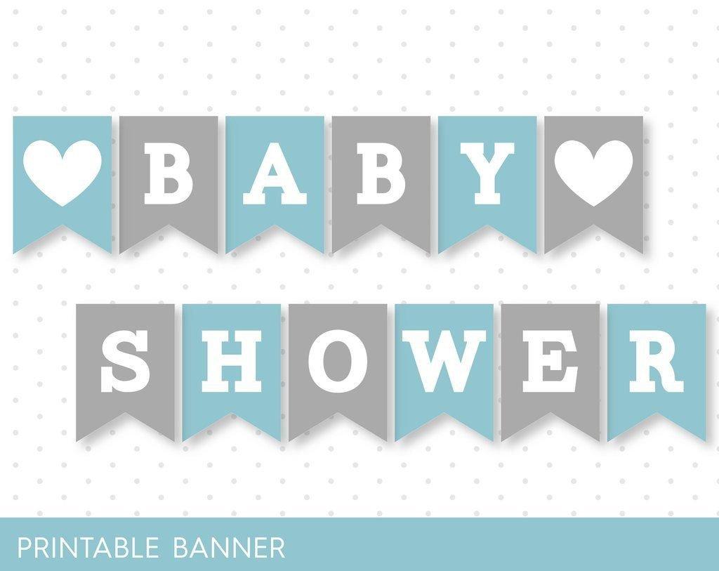 Baby Shower Banner Printable Blue Banner Grey Banner Oh Baby Banner Oh Boy Banner