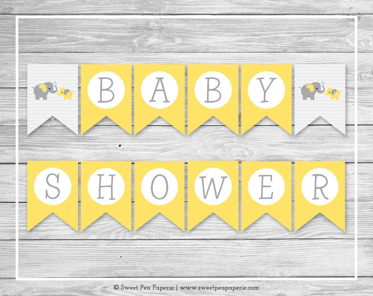 Baby Shower Banner Printable Elephant Baby Shower Banner Printable Baby Shower Banner