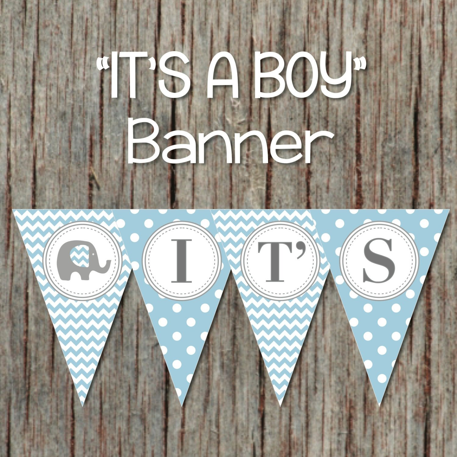 Baby Shower Banner Printable Elephant It S A Boy Baby Shower Printable Banner Powder