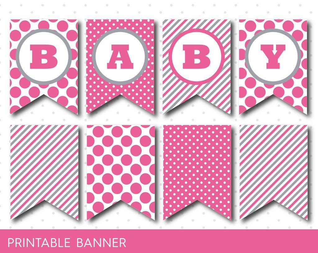 Baby Shower Banner Printable Hot Pink Banner Party Banner Birthday Banner Baby