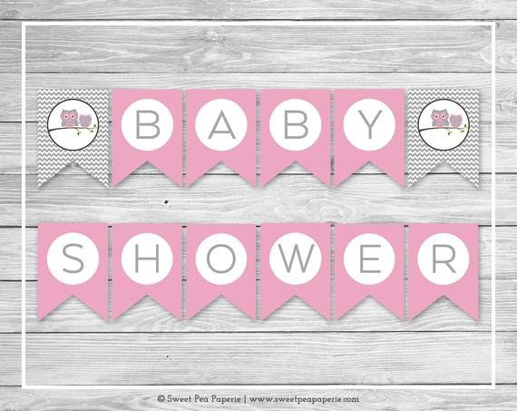 Baby Shower Banner Printable Items Similar to Owl Baby Shower Banner Printable Baby