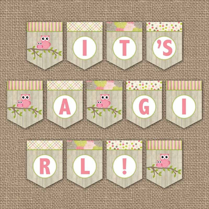Baby Shower Banner Printable Owl Baby Shower Banner It S A Girl Digital Pdf File