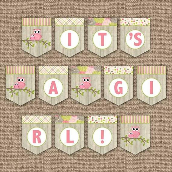 Baby Shower Banner Printable Owl Baby Shower Banner It S A Girl Digital Pdf File