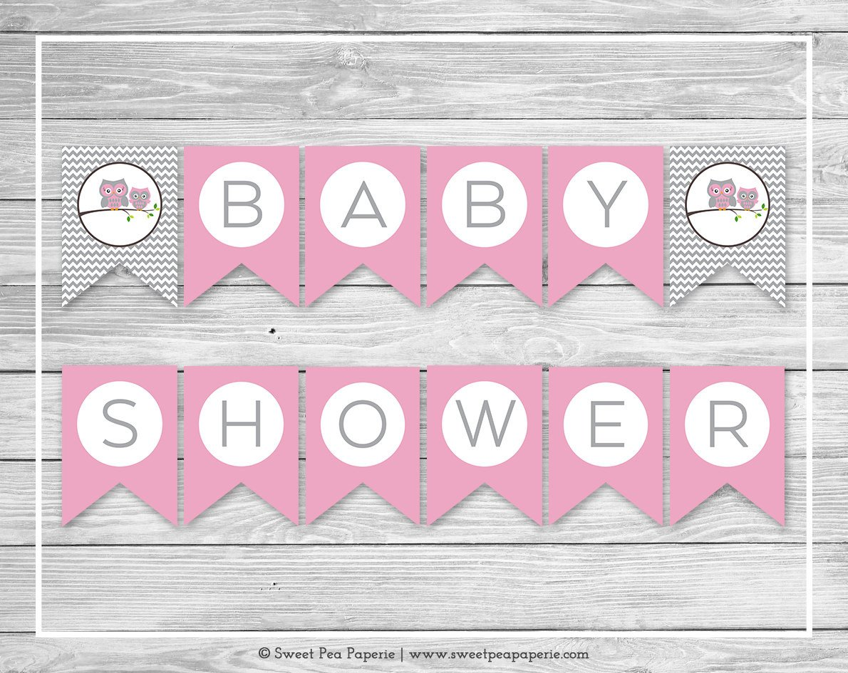 Baby Shower Banner Printable Owl Baby Shower Banner Printable Baby Shower Banner Pink