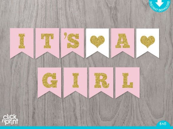 Baby Shower Banner Printable Pink and Gold Printable Baby Shower Girl Banner Printable