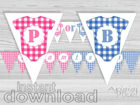 Baby Shower Banner Printable Pink or Blue Baby Shower Banner Gender Reveal Banner Printable