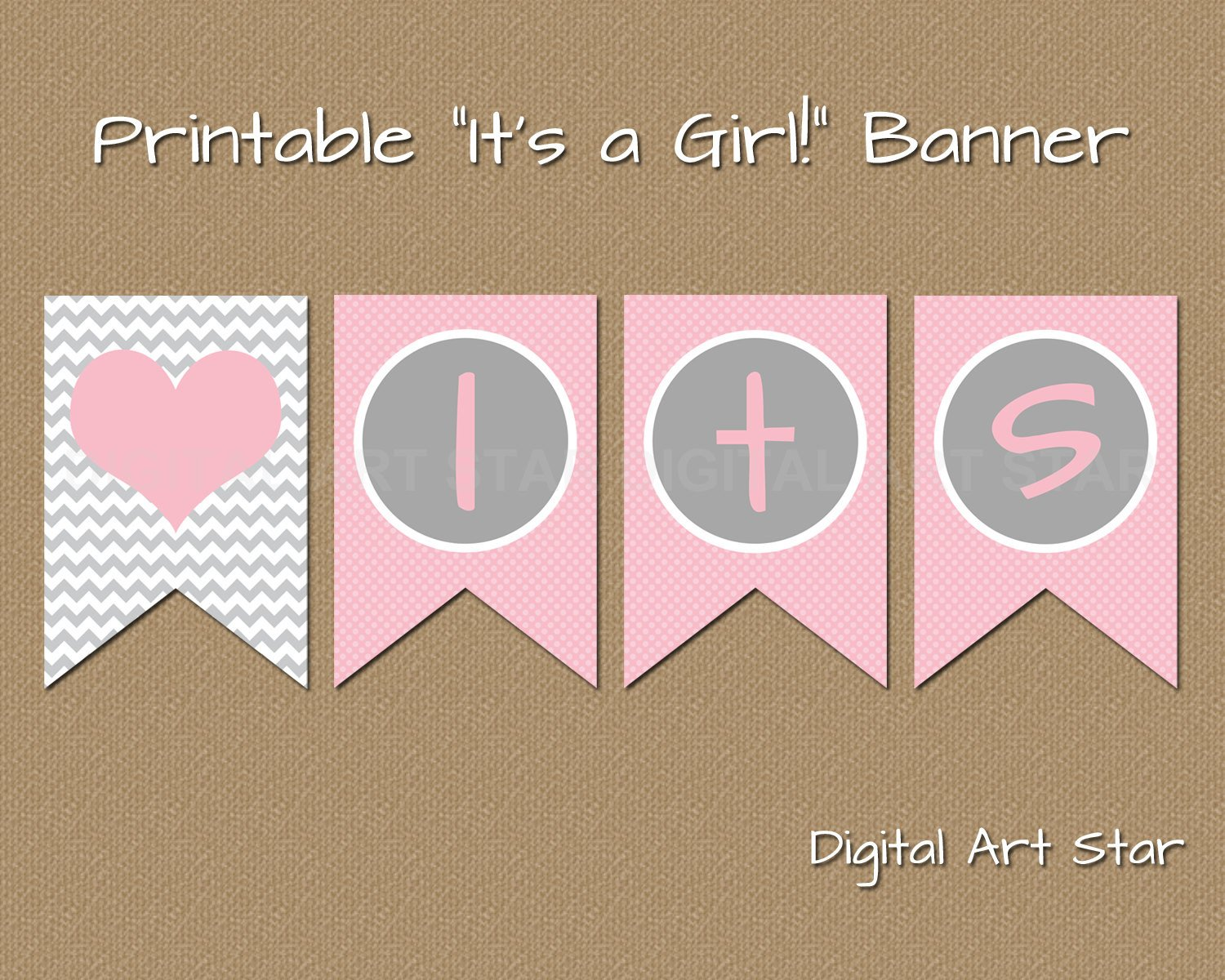 Baby Shower Banner Printable Printable Baby Shower Banner Diy Its A Girl Banner Pink