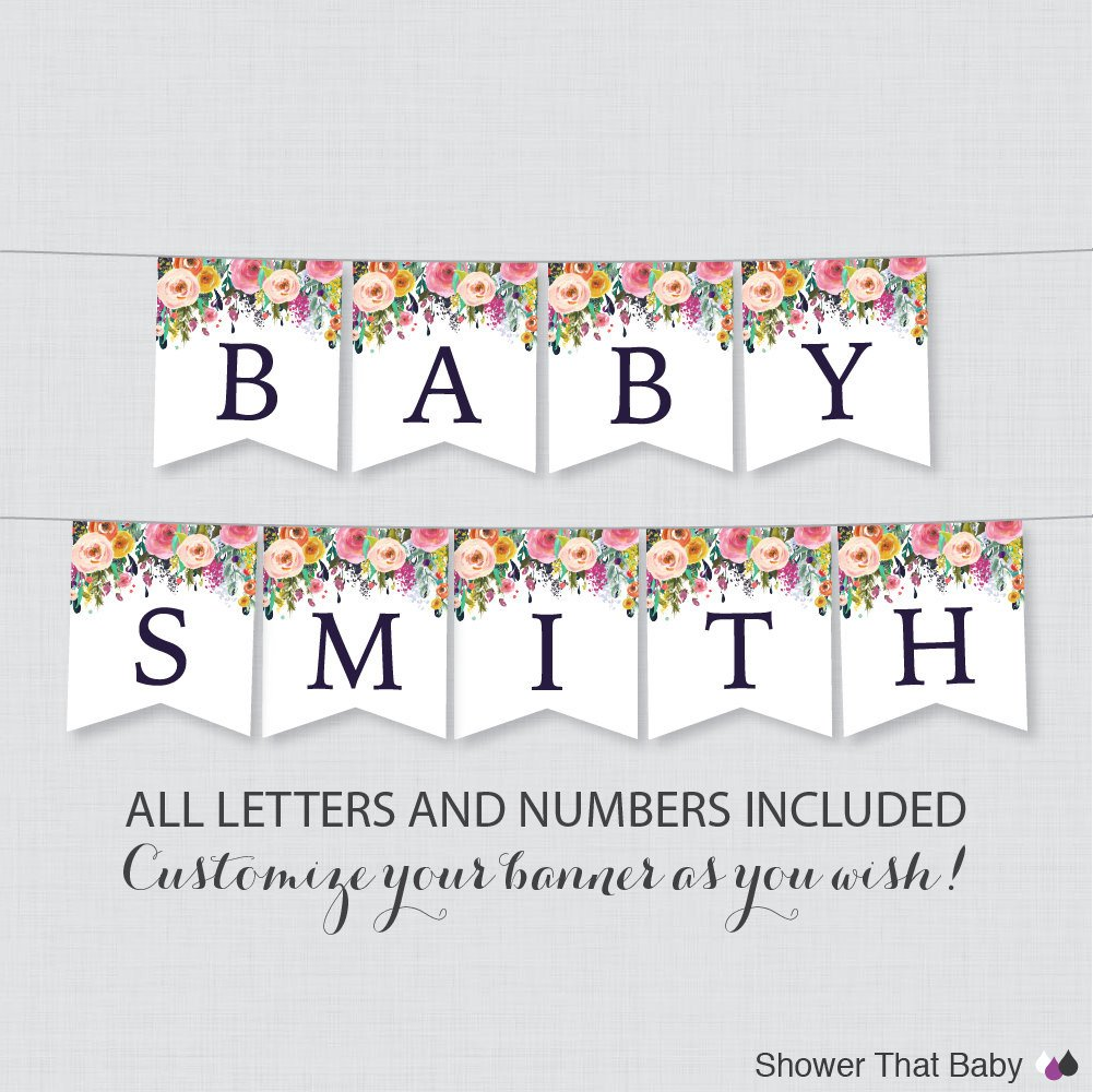 Baby Shower Banner Printable Printable Floral Baby Shower Banner Colorful Flower Shower