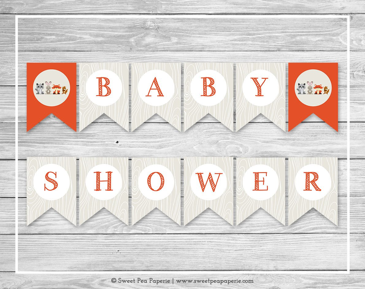 Baby Shower Banner Printable Woodland Animals Baby Shower Banner Printable Baby Shower