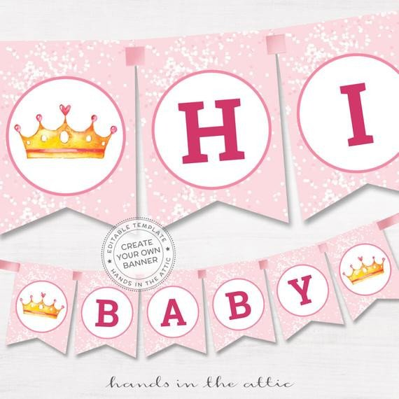 Baby Shower Banner Templates Diy Banner Pink Baby Shower Template Editable Name Garland