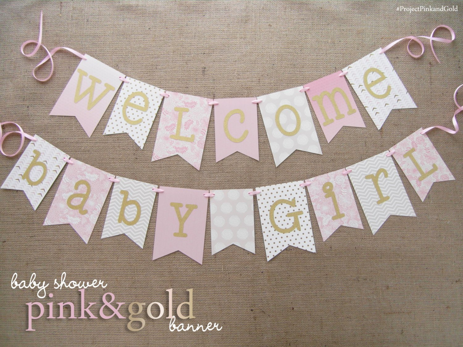 Baby Shower Banner Templates Pink and Gold Baby Shower Banner Wel E Baby Girl