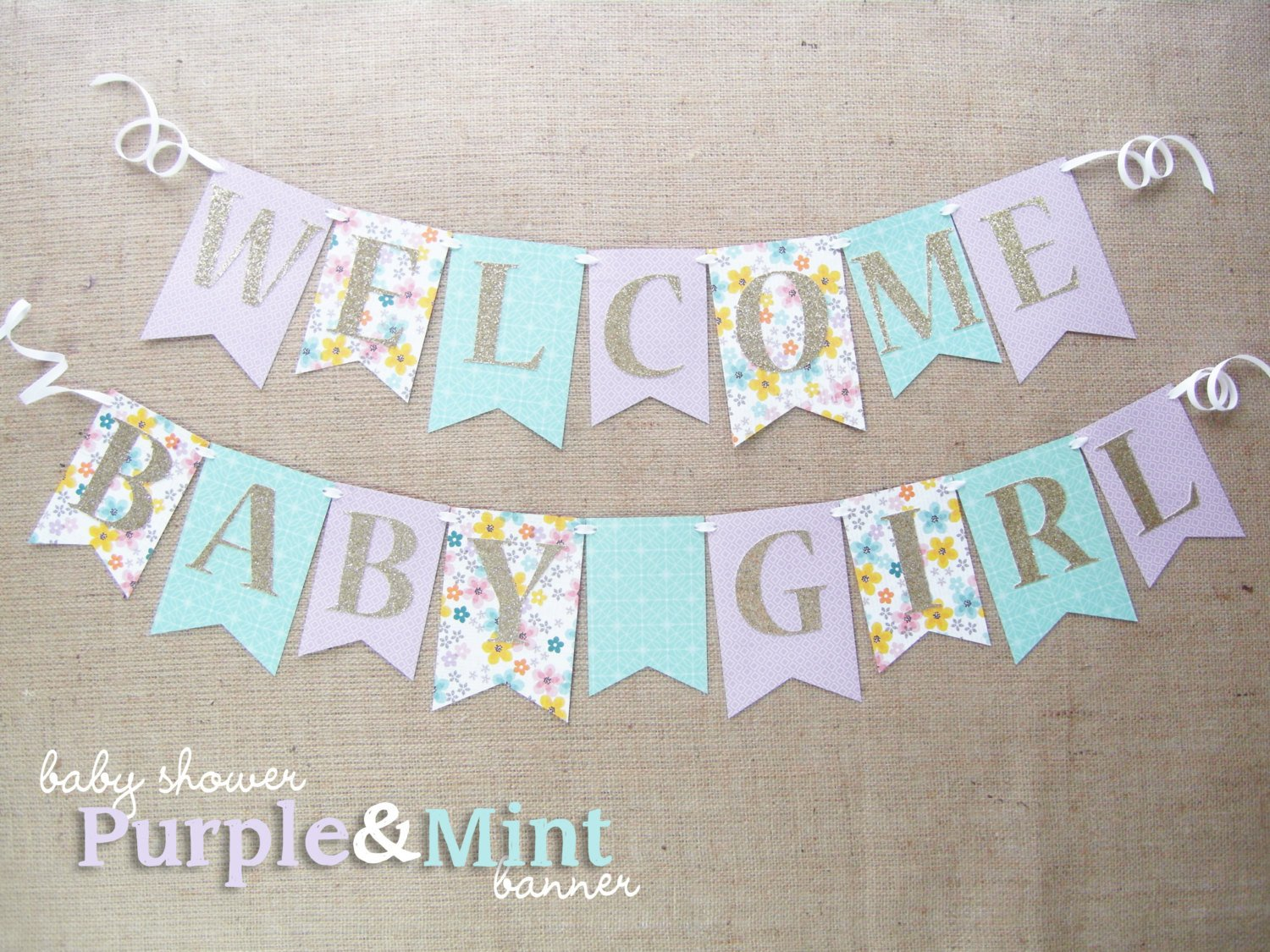 Baby Shower Banner Templates Purple Mint and Gold Baby Shower Banner Wel E Baby Girl