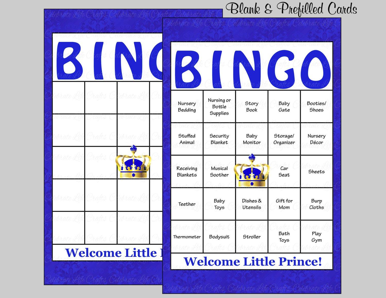 Baby Shower Bingo Template 100 Prince Baby Shower Bingo Cards 100 Prefilled Bingo Cards